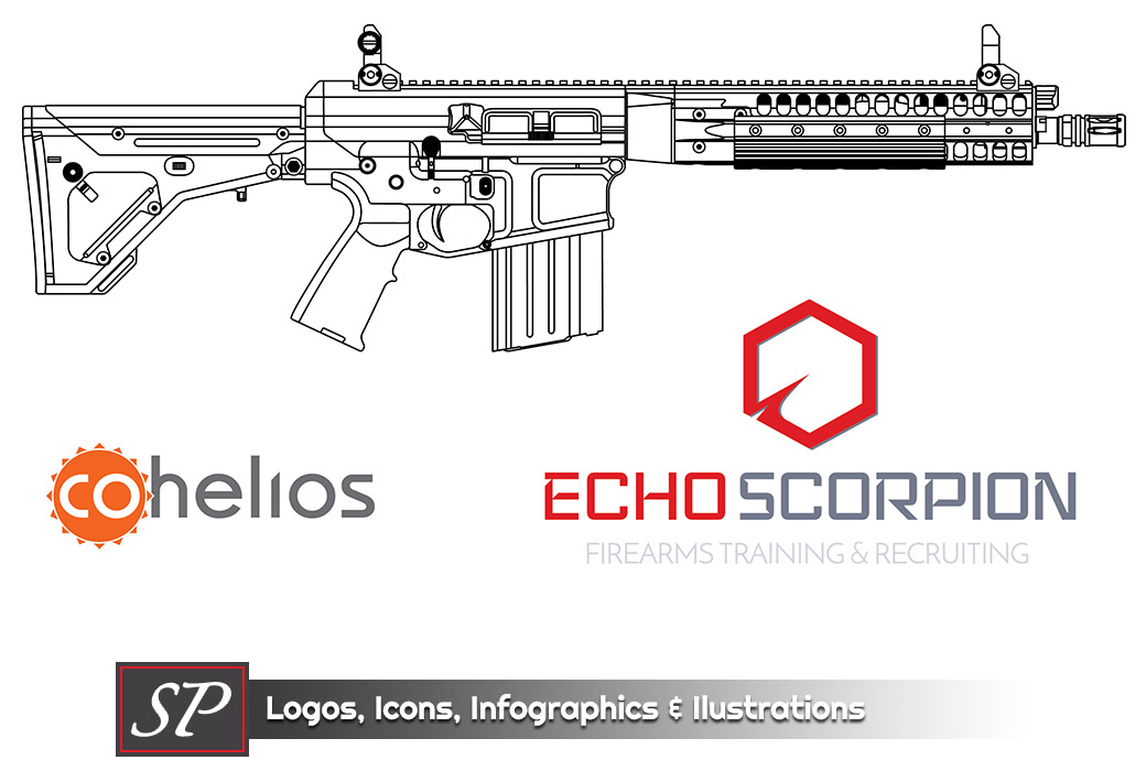 LWRC REPR outline with EchoScorpion and CoHelios Logos